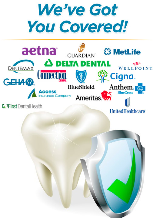 We cover most dental insurance in-network plans